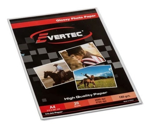 Papel Foto Brillante A4 180g 20 Hojas Evertec Photo Glossy