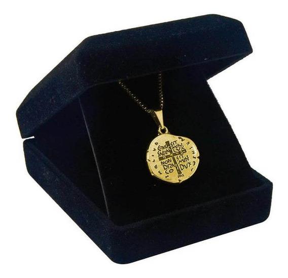 Corrente Medalha Das Duas Cruzes Folheada A Ouro