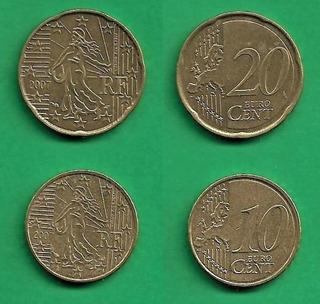 Grr-2 Monedas Unión Europea Francia 10 Y 20 Euro Cent 2007