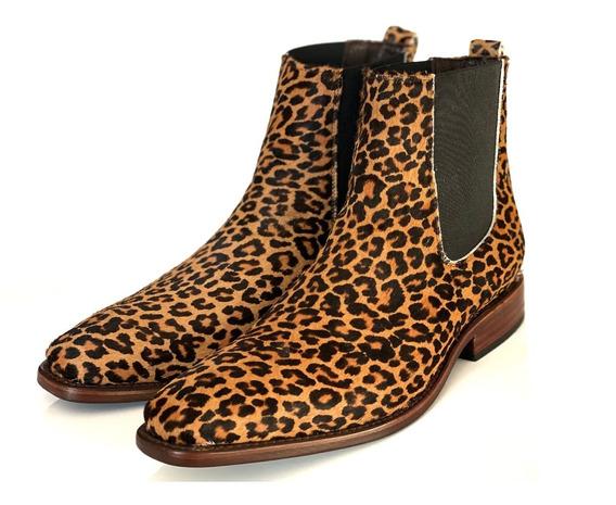 Botin, Chelsea Boot, Animal Print, Leopardo, 100% Piel