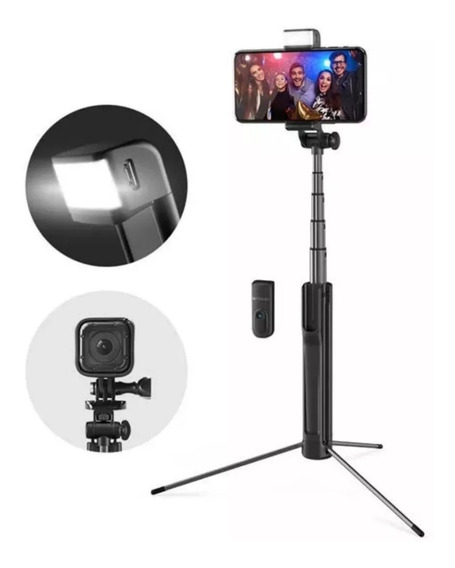 Pau De Selfie Com Flash Led Tripé Bluetooth Blitz Wolf Bs8