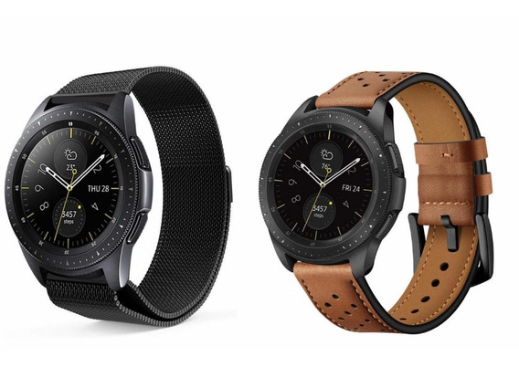 Kit Pulseira Samsung Galaxy Watch 42mm Couro + Milanesa Aço