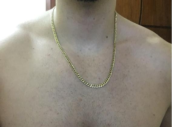Cordão Corrente De Ouro 18k 17 Gramas 55cm Groumet Dourado