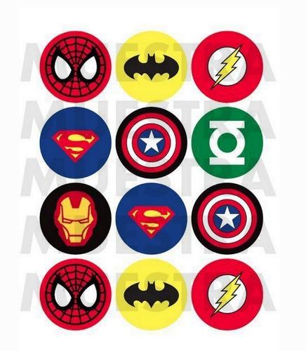 Imagen 1 de 1 de Stickers Redondos Avengers Superheroes 20 Stickers 5cm