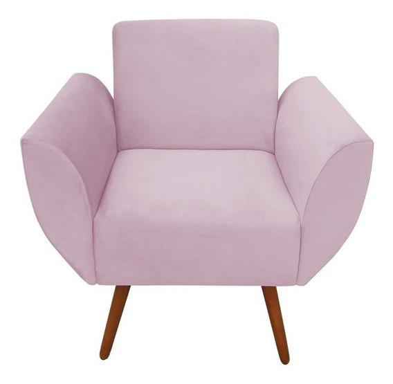Poltrona Jolly Veludo Sala Amamentação Quarto De Menina Rosa Pink