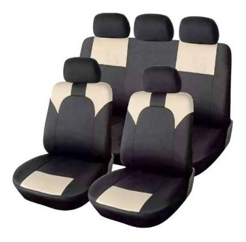 Imagen 1 de 3 de Juego Cubreasiento Universal Auto Ix46 Tela Negro Y Beige