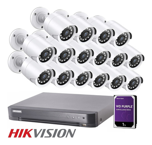 Imagen 1 de 10 de Kit Seguridad Dvr Hikvision 4k + 16 Camaras Full Hd Disco Rigido 1tb