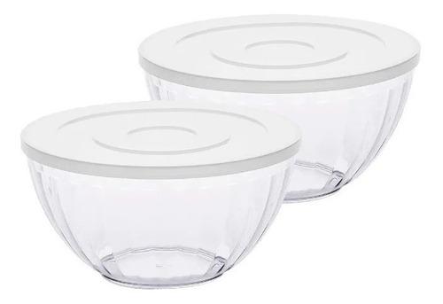 Kit Pote 2 Tigelas Bowl Transparente Tampa Branca Paramount