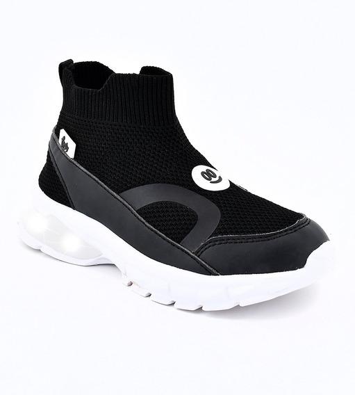 Botas Zapatillas Footy Con Luces Luz Led Negras Ultraliviana