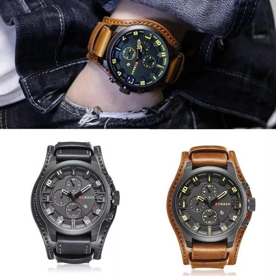 2 Relógios Bracelete Masculino Curren 8225 Kit Com 2 Unidade