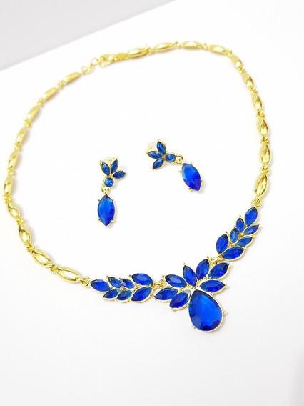 Collar Y Aretes Cristal Azul Y Dorado. Envio Gratis
