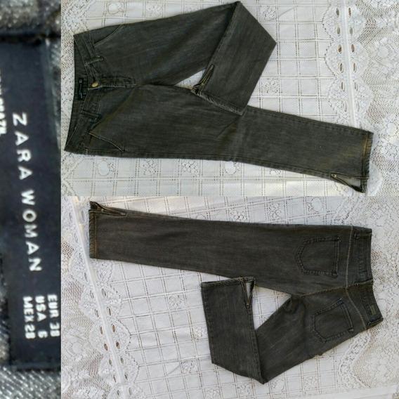 Calça Jeans Cinza Chumbo Zara Woman 38-40 Ziper Barra