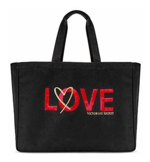 Bolsa Victorias Secret De Lona Com Paete Love - Original