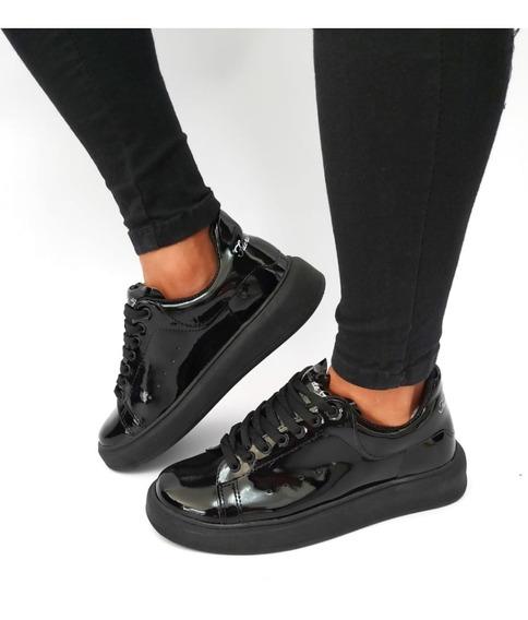 Zapatillas Mcqueen Cuero Urbanas Total Black Charol