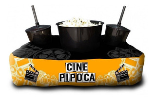 Kit Almofada Porta Pipoca Cine Netflix + 2 Copos Com Tampa