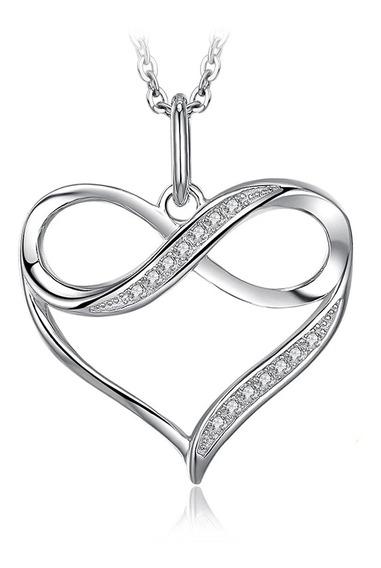 Collar Infinito Plata 925 Joyas Mujer Amor Corazón