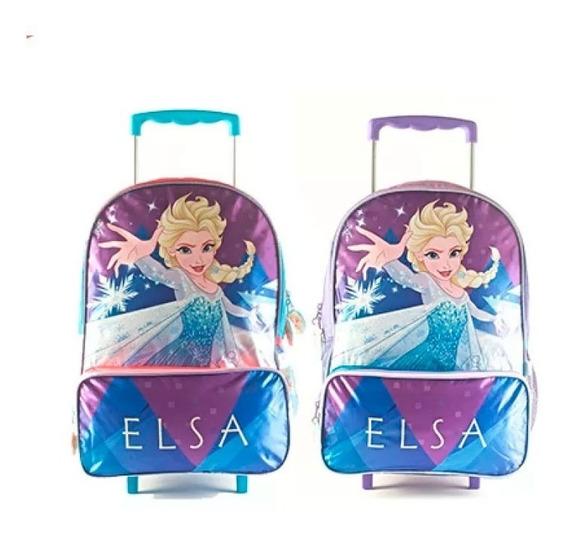 Mochila Frozen 16 Pulgadas Con Carro 88303 Wabro Original!!