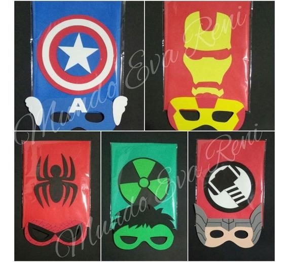Combo Capa Friselina Gruesa Y Antifaz Superheroes Souvenirs