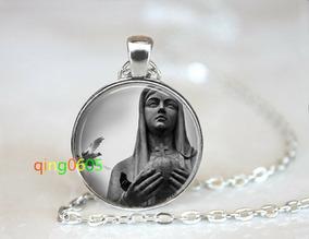 Colar Cabochão Estatua Da Virgem Maria