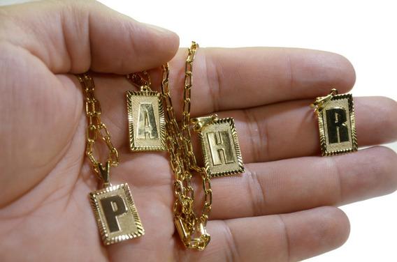 Cordão Kartier Fina 60cm Banhada A Ouro 18k + Pingente Letra