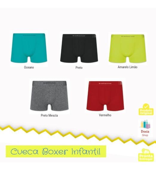 Cueca Boxer Infantil Selene Sem Costura Kit Com 10 Peças
