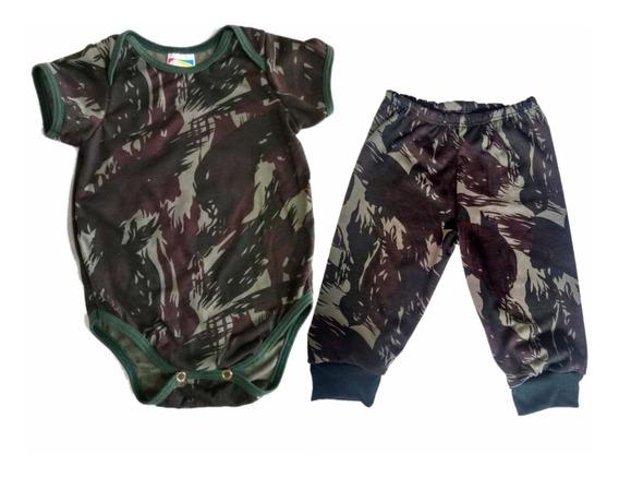 Conjunto Body Bebê Camuflado Exército Com Calça