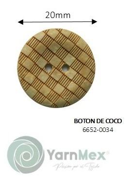 Botón De Coco | 6654-0034 - 100pzas