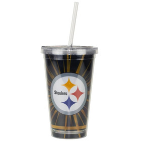 Copo C/ Canudo Pittsburgh Steelers - Nfl
