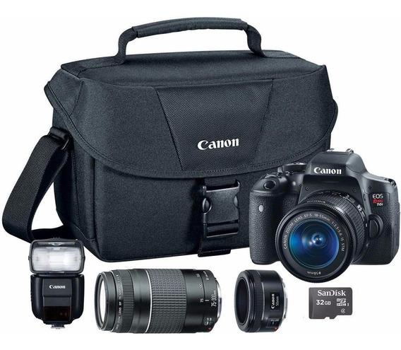 Camera Eos Rebel T6i 18-55 16gb Microsd E Lentes Adicionais