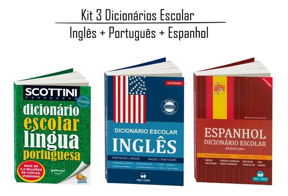 Kit 3 Dicionários Inglês Espanhol Português (atualizados)