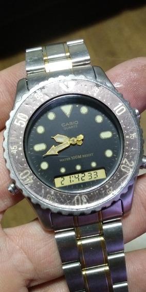Relógio Casio As 521 Todo Em Aço Fundo Rosca Funciona Tudo!