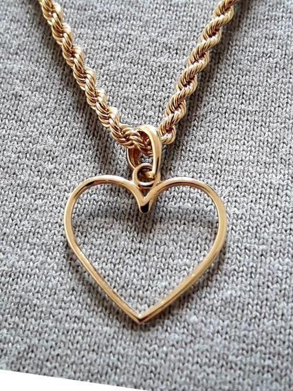 Cordão Baiano 3.6gr 50cm + Coração Vazado Em Ouro 18k+brinde