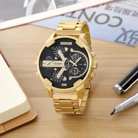 Relógio Masculino Cargany Analógico Grande Luxo Estiloso