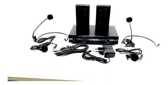 Kit Duplo Microfone De Lapela Transmissão Lelong Le-910 Gar