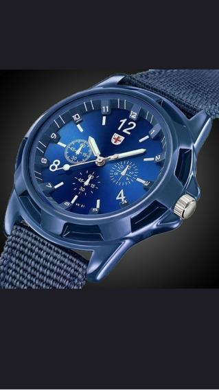 Relógio Estilo Militar Azul O Mais Barato!