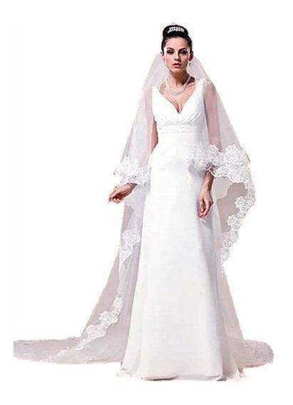 Véu 5 Metros Noiva Casamento Tule Bordado Mantilha Branco