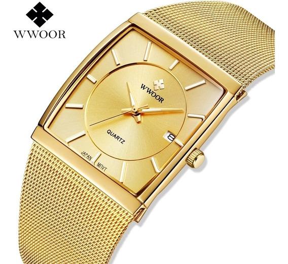 Relógio Masculino Quadrado Dourado De Luxo Com Caixa