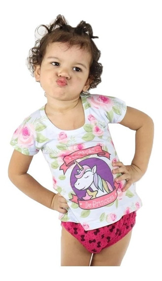 Kit 10 Camiseta Blusa Infantil Curta Meninas Baby Look Manga