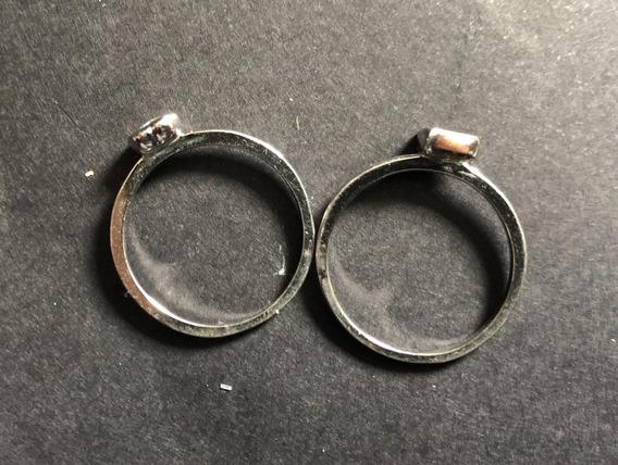 Par De Anéis Semi Jóia Banhado A Prata