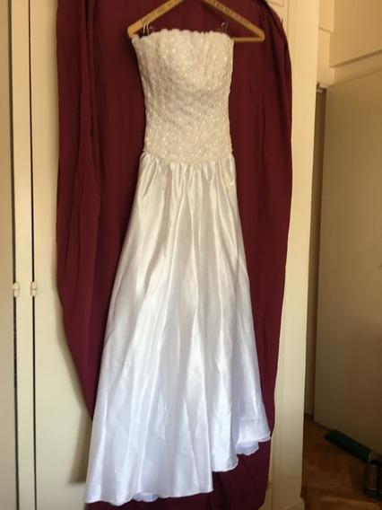 Vestido De Fiesta O Novia Blanco- Material Importado