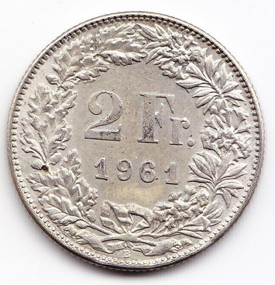 Suiza Moneda 2 Francos 1961 B Plata Km 23 Au Casi Sin Circul