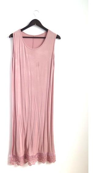 Vestido Algodon Elastizado Rosa Viejo Con Puntilla Talle L