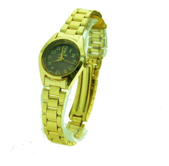 Relógio Feminino De Pulso Dourado Orimet Cor Variada Pequeno