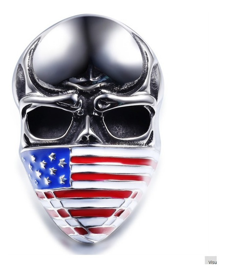 Anel Caveira Crânio Em Aço Inoxidável Bandeira Americana