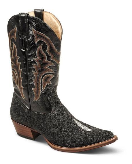 Bota Country Texana Exótica Couro Arraia E Mustang 2880