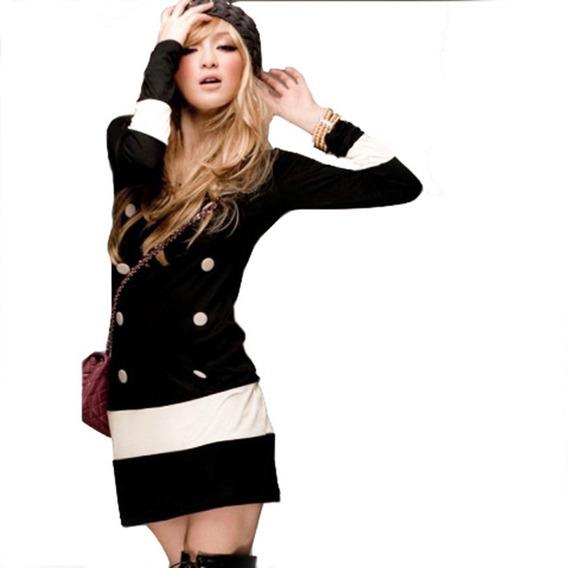Vestido Corto Marinero Negro Con Botones Para Mujer 5117