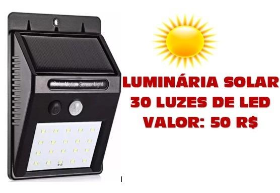 Luminária Solar De 30 Led Com Sensor De Movimento
