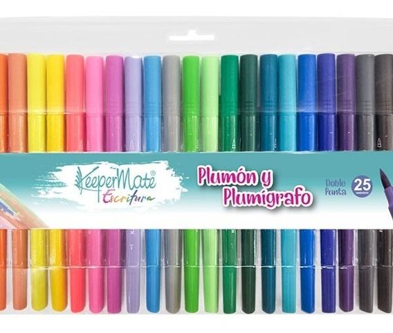 Marcador Doble Punta Escolar X 25 Colores Surtidos