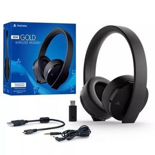 Headset Sony New Gold Wireless 7.1 Ps4 Microfone Embutido