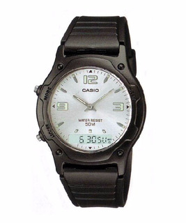 Reloj Casio Analogico Digital Cronometro Aw49 Hora Doble